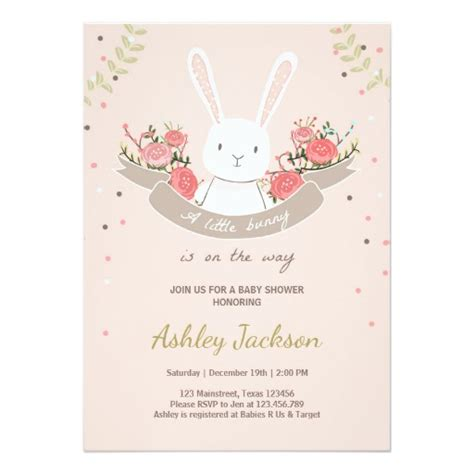 Rabbit Baby Shower Invitations by Girly Pink Baby Shower Invitations Ideas