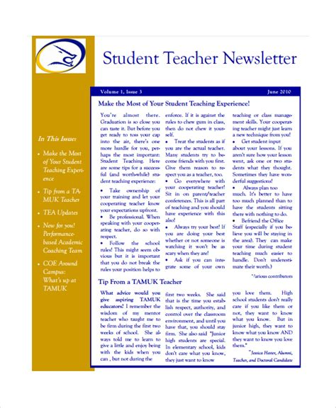 7 Teacher Newsletter Templates Sle Templates Weekly Newsletter Templates