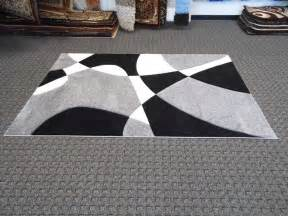 Cheap White Rug Modern Abstract Pattern Gray Black White Shag Rug With