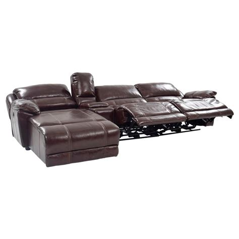 leather sofa w chaise theodore brown power motion leather sofa w left chaise
