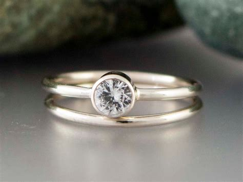 engagement rings white thin band engagement ring design