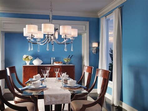 bold blue dining room beach style dining room
