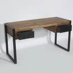 bureau industriel bois et m 233 tal 2 tiroirs made in meubles