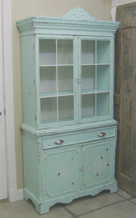 shabby 1940 s aqua painted china cabinet cupboard