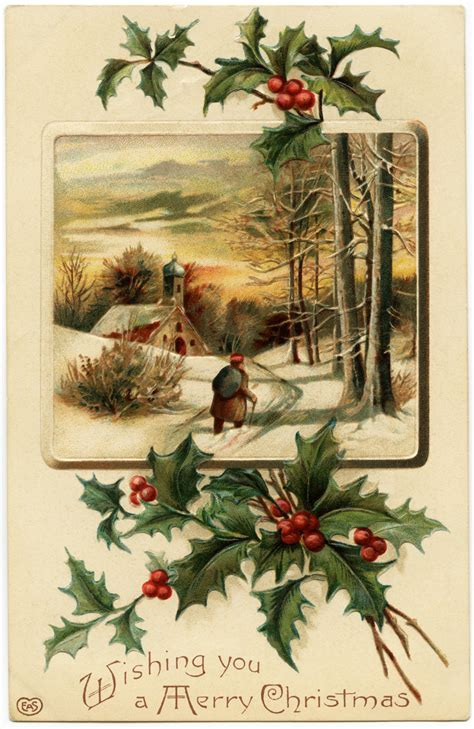 vintage image merry christmas postcard  design shop blog