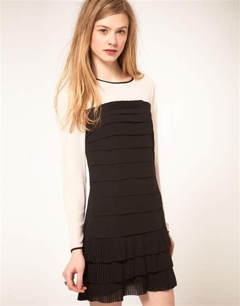 pleated hem sleeve lace dress ted baker sleeve pleated and hem dress in black