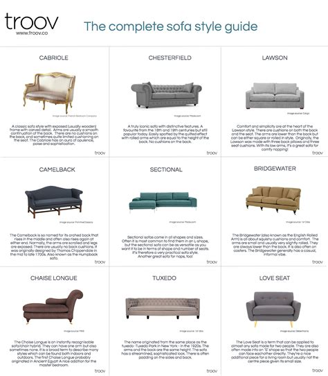 types of couches names get sofa savvy with troov s ultimate sofa style guide