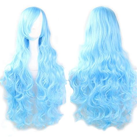 sky blue cosplay wigs vocaloid sky blue long curly series cosplay wig harajuku