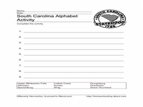 Carolina Worksheets by South Carolina Alphabet Activity 2nd 3rd Grade Worksheet