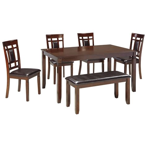 Bench Dining Room Table Set Signature Design By Bennox D384 325 Contemporary 6 Dining Room Table Set With Bench
