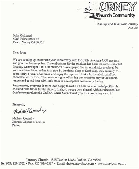 Community Service Letter From Church Testimonial Letter Journey Community Church Office Coffee Delivery Espresso Etc