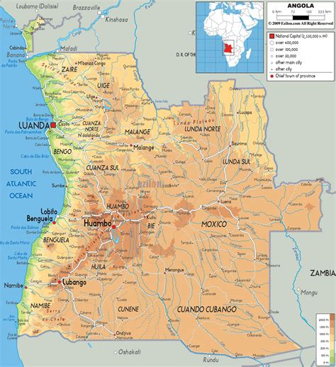 Physical Map of Angola   Ezilon Maps