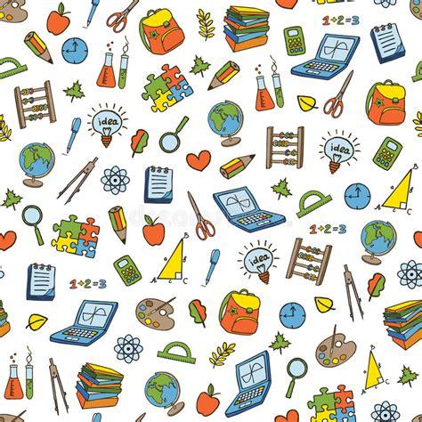 doodle pattern school school seamless pattern stock vector illustration of