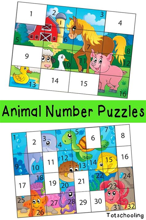 printable maths jigsaw puzzles free animal number puzzles for kids number puzzles
