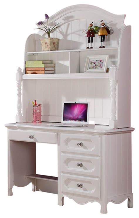 homelegance hayley 4 drawer desk with hutch in white