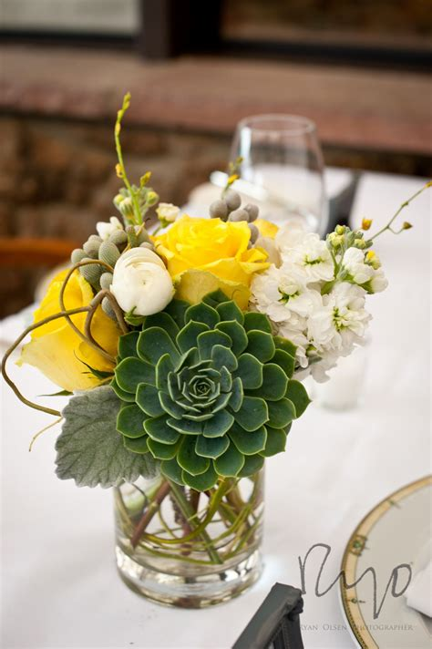 Wedding Reception Flower Centerpiece by Succulent Reception Wedding Flowers Wedding Decor