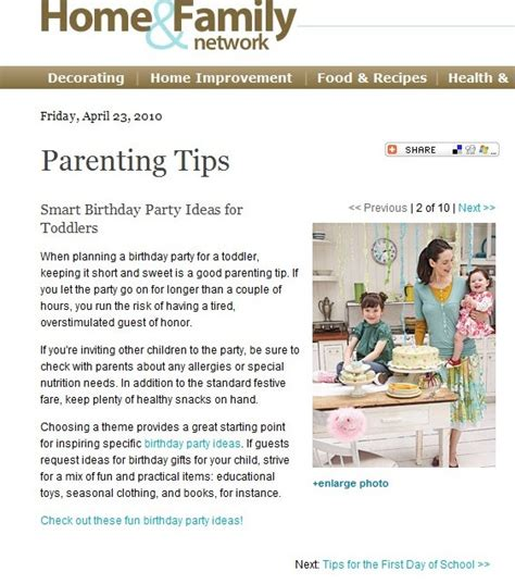 parenting article birthday ideas words by