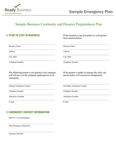 daycare emergency preparedness plan template best photos of emergency preparedness plan sle