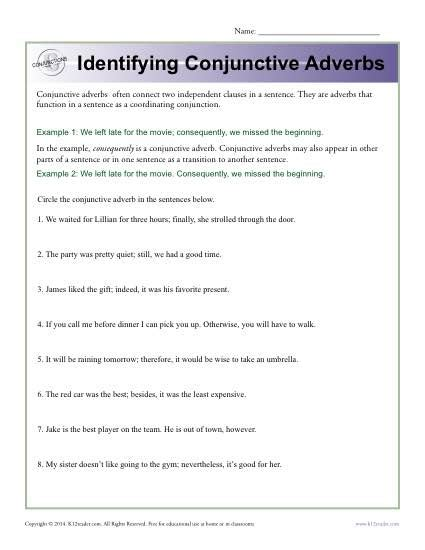 identifying conjunctive adverbs conjunction worksheets