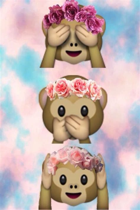 wallpaper emoji monkey cute monkey emoji wit flower head band backgrounds