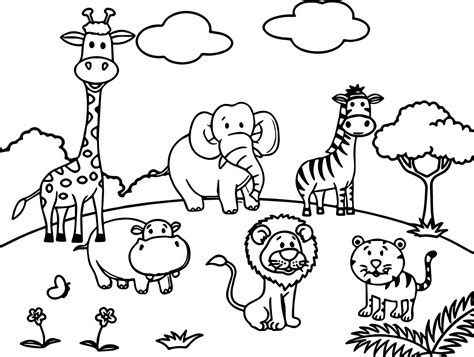 cartoon zoo coloring pages sketch coloring page