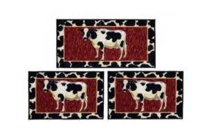 cow 3 rug set kitchen mat non skid sink farm country throw home decor ebay