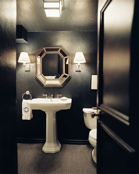 dark bathroom small but grand how to decorate with dark walls lonny