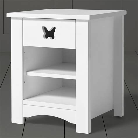 white bedside table 1 drawer and shelf new tesco butterfly cut out solid pine 1 drawer 2 shelf