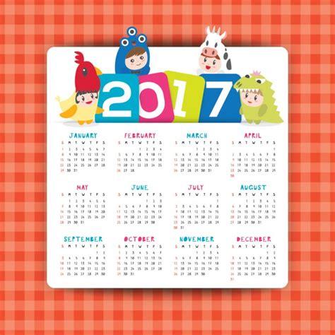 Calendario Para Descargar 2017 Calendario 2017 Con Dibujos Descargar Vectores Gratis