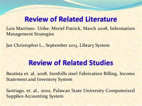 Review Related Literature Of Inventory System by System Analysis And Design Presentation