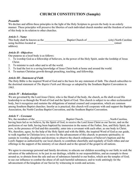 church constitution sle doc templates resume