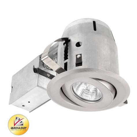 Remodel Recessed Lighting Kit by Shop Utilitech Brushed Nickel With Gimbal Remodel Recessed Light Kit Fits Opening 4 In At