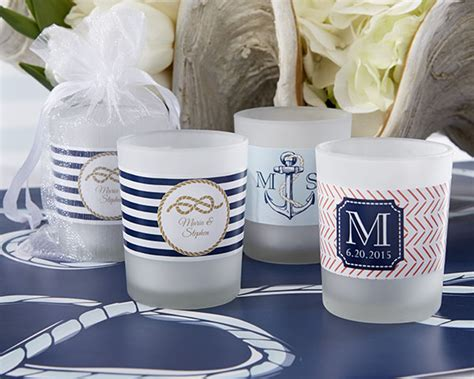Custom Color Sparkly Glass Votive Personalized Frosted Glass Votive Nautical Wedding Designs
