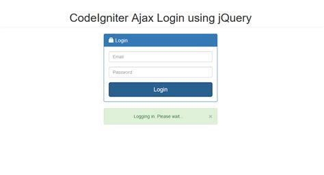 codeigniter tutorial user login codeigniter ajax login using jquery free source code