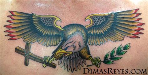 tattoo eagle color color traditional eagle chestpiece by dimas reyes tattoonow