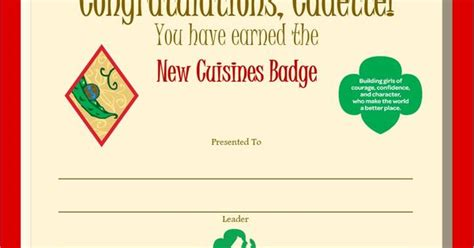 cadette woodworker badge requirements cadette new cuisines badge certificate cadette