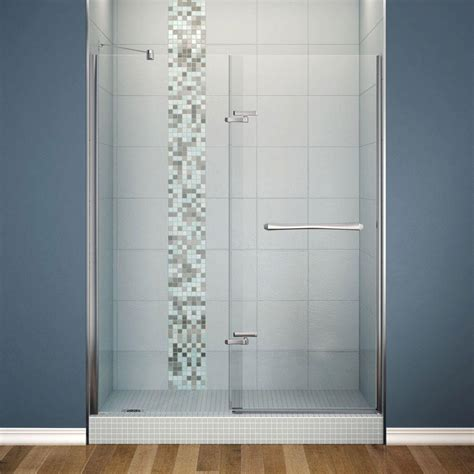 Maax Glass Shower Doors Maax Reveal 59 In X 71 1 2 In X 1 2 In Semi Framed Pivot Shower Door With 8 Mm Clear Tempered
