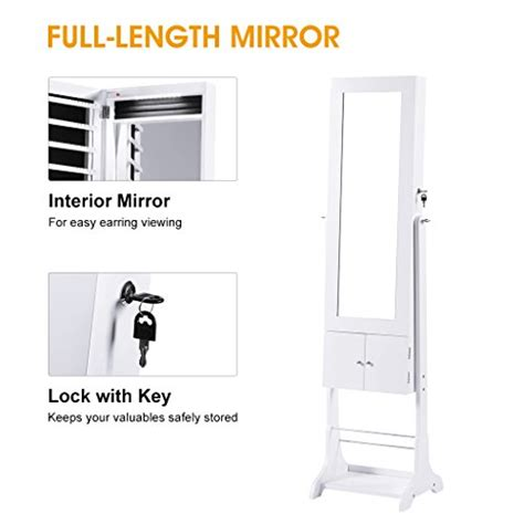 Free Standing Length Mirror Jewelry Armoire by Langria Free Standing Lockable Jewelry Cabinet Length
