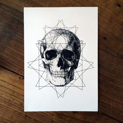 tattoo geometric skull limited geometric skull tattoo print 50 50 signed