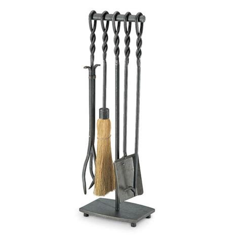 pilgrim 5 piece soldier row vintage iron fireplace tool set