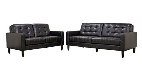 Caledonia Sofa Set Black Bonded Leather By Wholesale Interiors Cheap Leather Sofa Sets
