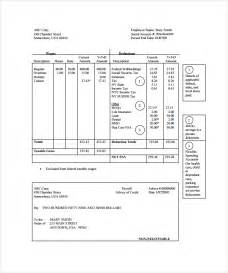 Pay Stub Template Excel by Sle Pay Stub Template 24 Free Documents In