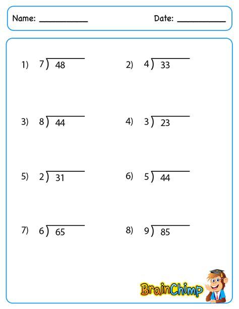 printable easy division worksheets single digit division with remainders worksheet one