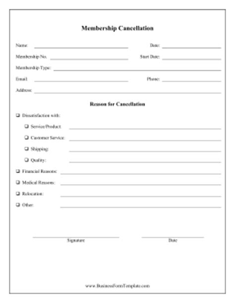 membership cancellation form template