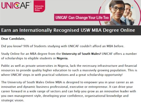Of South Wales Mba Scholarship by Vacancy Earn An Internationally Recognised Usw Mba