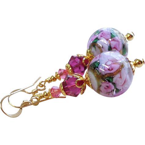 Pink Floral Venetian Glass Bead Earrings Sold On Ruby