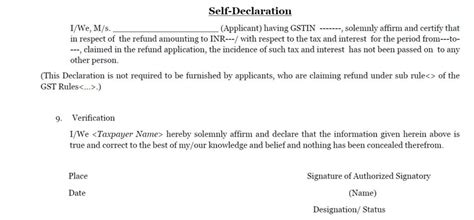 No Loan Declaration Letter Format Gst Format Required In Refund Application Consultease
