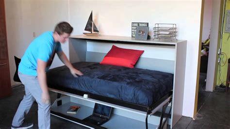 twin murphy bed with desk twin horizontal murphy deskbed youtube