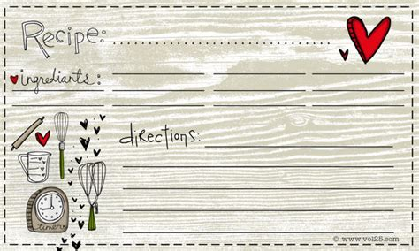 editable recipe card template with hearts free for you recipe card