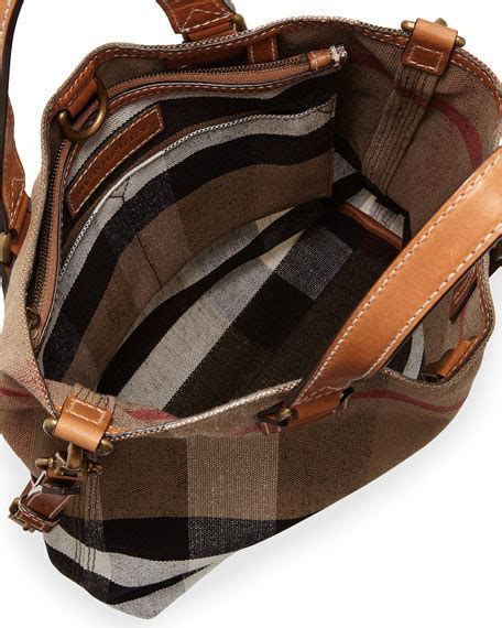 Burberry Canvas Floral Tote by Burberry Brit Check Canvas Medium Tote Bag Saddle Brown